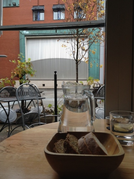 Table for one with a view of Meeting House Square.