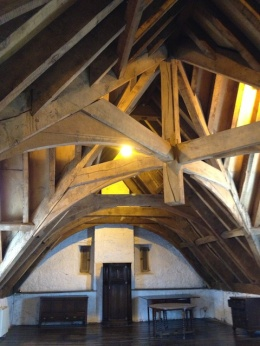 The Roth House's magnificent timber roof structure.