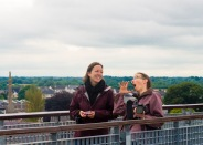 Hamming it up on top of Trim Castle, with Joanne Davidson, my guardian angel.