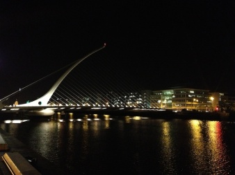 The Samuel Beckett Bridge designed by Santiago Calatrava's office.