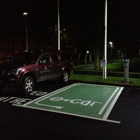 A charging station for electric cars on the campus of Galway University.