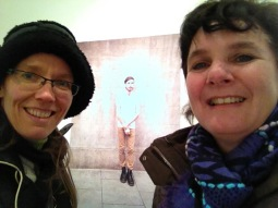 Shannon and Esther at a photography exhibition sponsored by Gillette, of men in Dublin with facial hair!?!!!?