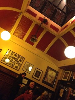 Grabbing half-pints at the beautiful Palace Bar.