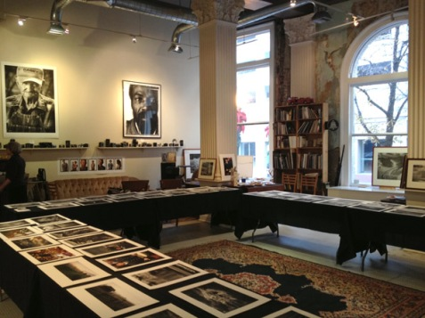 Glen McClure's annual holiday print sale, ready for visitors.