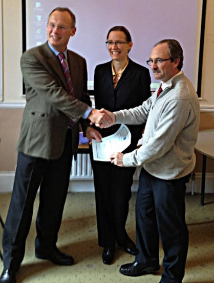 David Cagney (left) and I presenting a Teaching Fellowship certificate to the Peter Hinch from the School of Construction. Peter also teaches some Architecture Technology students.