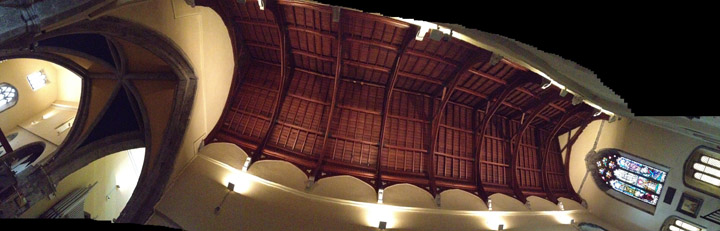 "A ""new"" ceiling over the unusually long south transept at St. Nicholas."