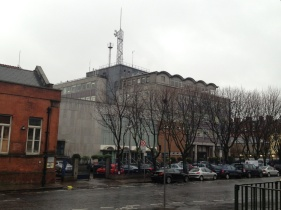 This is the Kevin Street campus of DIT, which houses Electrical Engineering Systems (EES), among other programs. You've seen the glass penthouse in earlier posts.