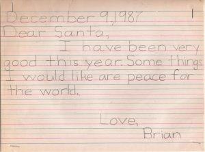 Brian Burke's 1987 letter to Santa.