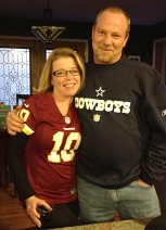 Jill and Donnie root for opposing teams. (Sorry your team lost Donnie! Now you're stuck using Redskins memorabilia for a while! Hee, hee!)