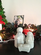 Annie and Rob were both in our wedding. This year they kept our wedding photo up with the Christmas decorations (to tease me back, since I always check to see if we're still displayed with the rest of the family photos).