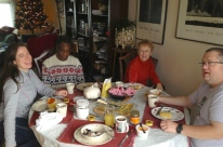 Christmas breakfast with my sister Heather, friend Leslie Lee, mom Cynthia, and husband Dave.