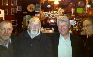 Fergus Whelan, Jerry Crilly, Tom Mulligan, and Shannon Chance at the Cobblestone last night.