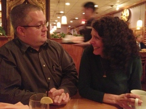 Dave Chance and Pam Eddy shooting the breeze at Bangkok Garden in Williamsburg, Va.