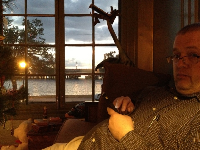 Dave enjoying Mason's sun(set) room.