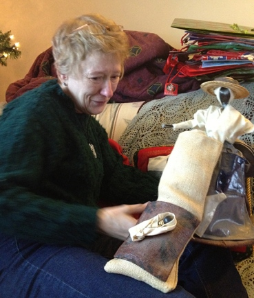 Mom received an amazing cotton-picking doll from Leslie. She was deeply touched.