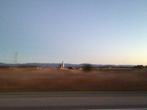 Arriving in the Shenandoah Valley. Almost to Harrisonburg on Interstate 81. This is Mennonite country.