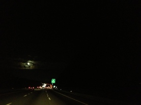A full moon brightened our drive along the highways of Pennsylvania and Maryland last night.