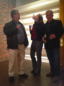 Jenn White and Dan Bell brought champagne to toast the move!