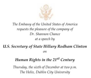 Invitation to Hillary Clinton's DCU speech.