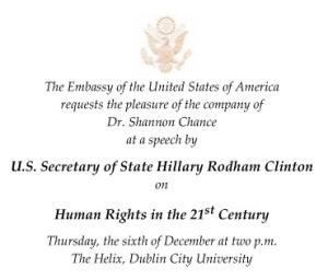 Invitation to Hillary Clinton's DCU speech.