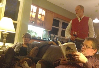 Dave perused the newest book published by Parke Press, Marshall's company, which specializes in local history.