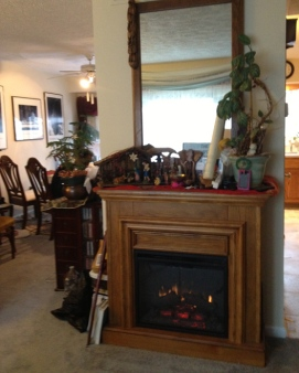 The fireplace in Mom's house... not ideal for true raclette.