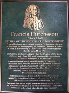 Plaque for Francis Hutcheson. You can click on the image to see a larger version.(Photo provided by Fergus Whelan.)