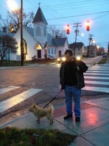 Dave and Zeke at the intersection of Mount Vernon and Detroit... home of the lovely Port Norfolk Church building.