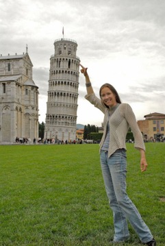 In Pisa, Dave and I found that a little nudge wouldn't quite do the trick...