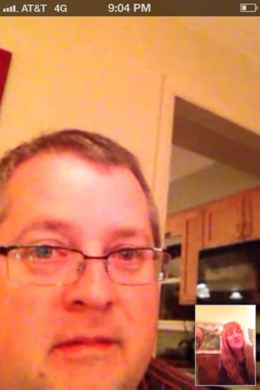 Teaching Jamie to use Skype.