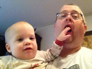 Helping Uncle Dave yawn.