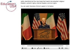Video of Hillary Clinton's DCU speech posted on the Fulbright Ireland website.