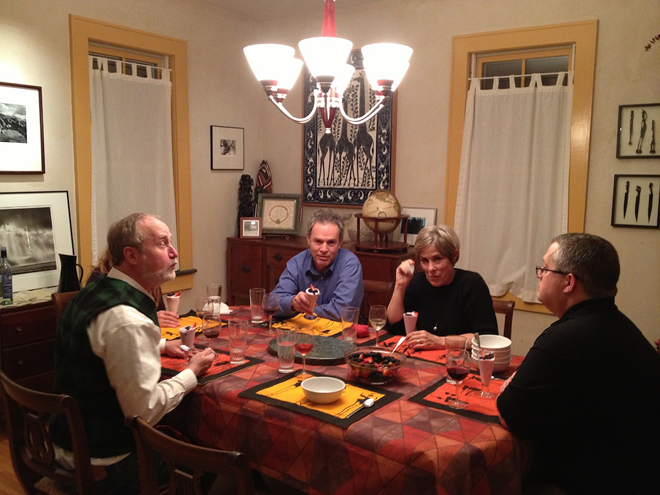 Glen, (Jamie), Mark, Marshall, Dave (and Shannon) gathered around the table for dessert.