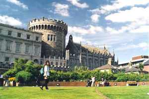 Dublin Castle as seen from the garden of the Chester Beatty Library. (Image from Dublin Attractions.)