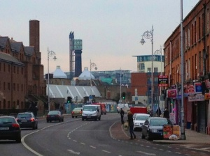 North King Street -- view toward the Jameson Distillery smokestack -- where density breaks down.