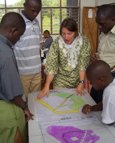 Kelly Thacker (a student who was studying student affairs in Kansas) learned about urban design by working Tanzanian and US architecture students.