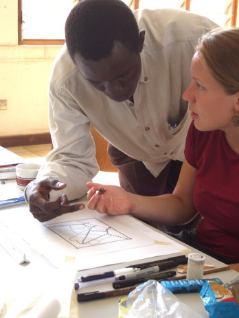 Here, Emmanuel James (from Tanzania) and Lauren Doran (a Virginia Tech landscape architecture student at the time) discuss strategies for city design.