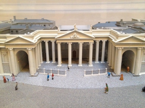 A model of the Bank of Ireland building.