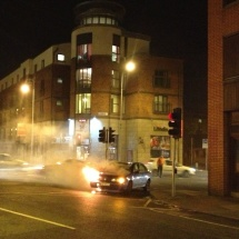 The car fire that captured our attention. (We don't think anyone was injured, thankfully!)