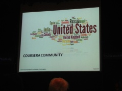 The size of each word shows how much involvement Internet-education provider Courseara has from various countries.