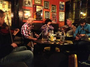 the Duffy brothers playing in the snug at Hughes Pub last fall.