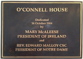 Plaque inside the O'Connell House.