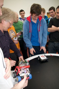 Richard Hayes leading the 2012 RoboSumo trials. (Photo by Shannon Chance, March 2012.)