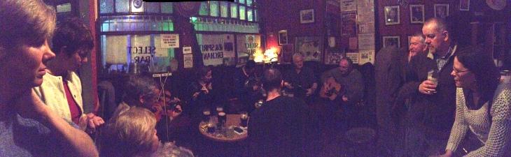 The musicians corner on Friday night.
