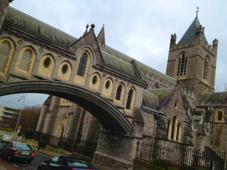 This is the West Gate of the city, attached to Christchurch Cathedral (protestant, Church of Ireland).