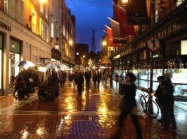 View down Castle Market Street. The place sparkles in the rain.