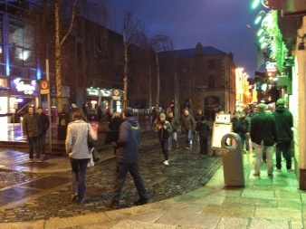 Here's Temple Bar Sqare, which hosts book stalls during the day.