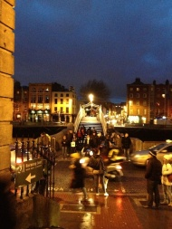 A view across the Ha'Penny Bridge. There used to be a half-penny tax to cross over it.