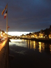 Sunset is gorgeous over the River Liffey.