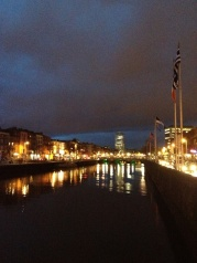 Here's the view east from the Ha'Penny Bridge at night.